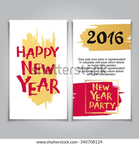 Happy New Year Greeting Card Set. Brush hand drawn lettering posters for holiday party - stock vector