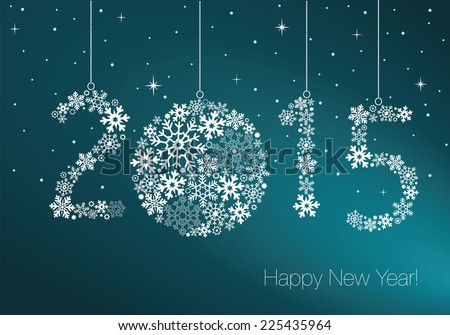 Happy New Year 2015 greeting card.  Snowflake background - stock vector