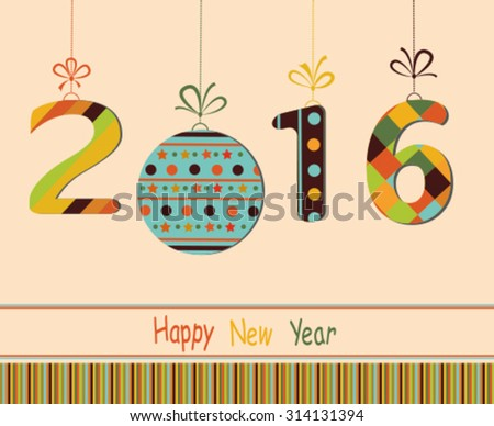 Happy New Year 2016  greeting card.  Vector - stock vector
