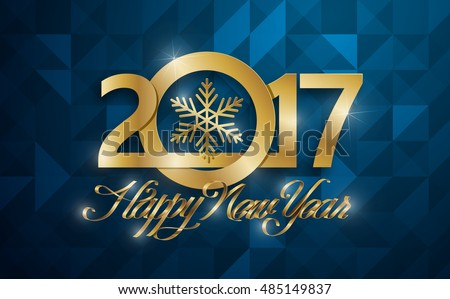 Happy New 2017 Year greeting card. Vector illustration.Wallpaper.