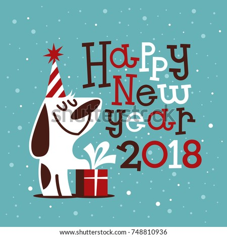 Happy New 2018 Year Greeting Card With A Funny Dog. Vector Illustration.