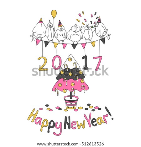 Happy New Year Greeting Card With Cartoon Funny Birds Hand Draw Vector Illustration Trendy
