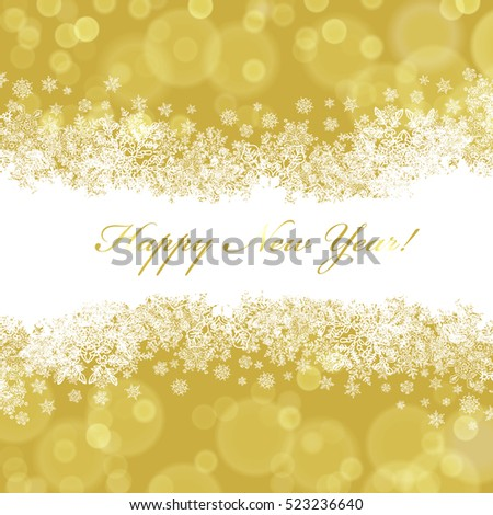Happy New Year greeting card with golden background.