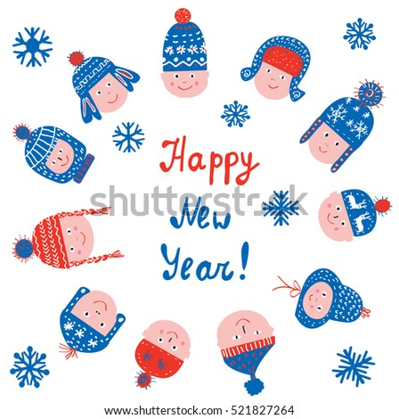 Happy new year greeting card with kids in the hats - vector graphic illustration