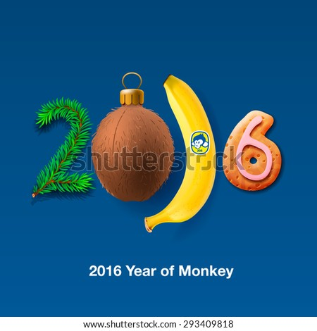 Happy New Year 2016 Greeting Card, with tropical fruits numbers, vector illustration.  - stock vector