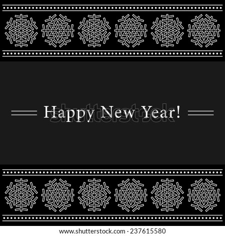 Happy New Year greeting card with white ornamental snowflakes on a black background