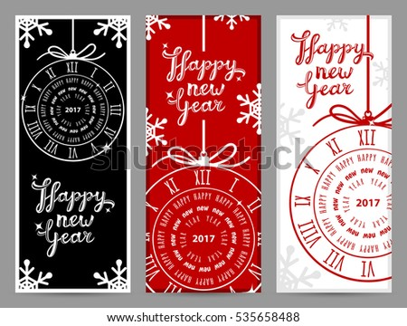 Happy New Year 2017 greeting cards, vector illustration