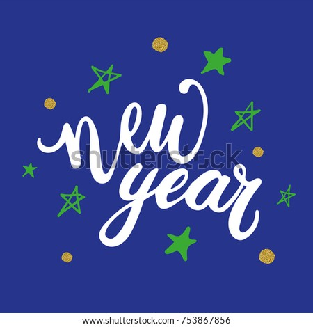 Captivating Happy New Year 2018 Hand Written Lettering Quote With Falling Snow On Blue  Background. Modern