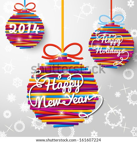 Happy New Year 2014 handwritten swirl lettering on greeting card made from bundle of bright laces on paper with snowflakes, in shapes of christmas balls. With place for your text.  - stock vector
