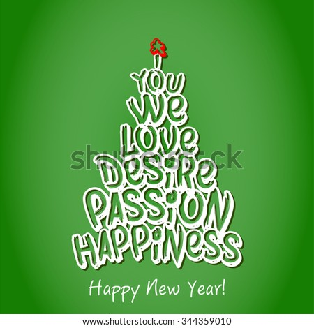 Happy New Year Happiness Greeting Card. Merry Christmas and happy new year lettering, vector illustration green background