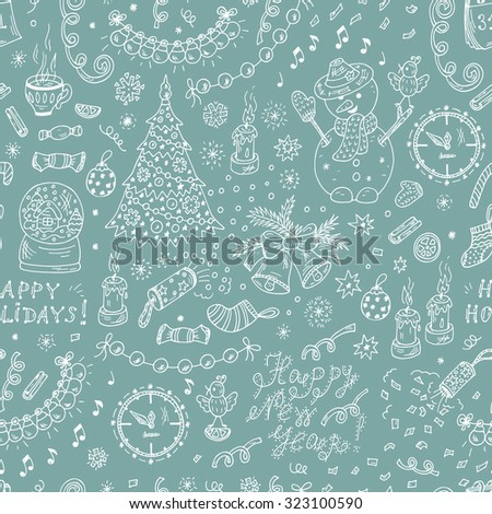 Happy New Year. Happy winter holidays. Merry Christmas. New Year characters and decorations. New Year Vector Seamless pattern - Hand drawn Doodles illustrations - stock vector
