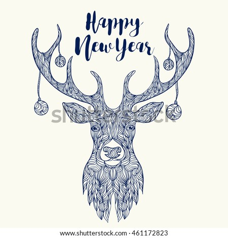 Happy new year  head Deer and Christmas toys.