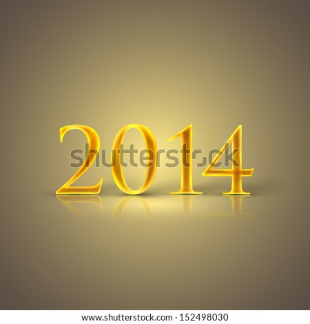 happy new year 2014. holiday background with golden text