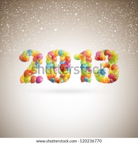 happy new 2013 year. holiday background with multicolored flying balloons - stock vector