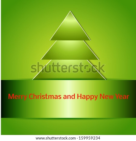 Happy new year. Holiday catchy background. Christmas tree cutted from paper on green background. Vector illustration with space for your text. Easy to edit. eps10