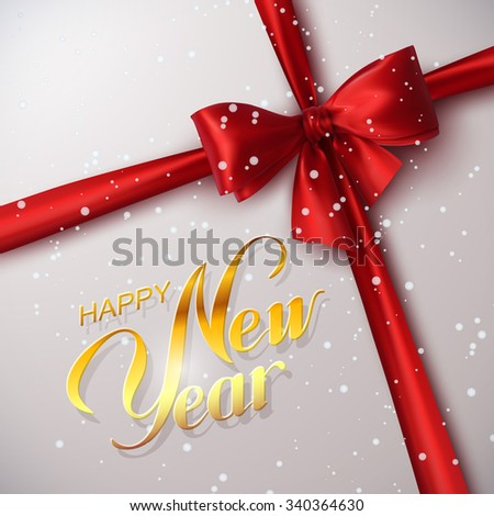 Happy New Year. Holiday Vector Illustration. Lettering Golden Composition With Ribbon And Red Bow - stock vector