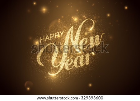 Happy New Year. Holiday Vector Illustration. Shiny Lettering Composition With Stars And Sparkles - stock vector
