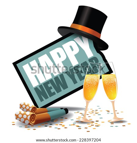 Happy New Year icon with party blowers and top hat EPS 10 vector - stock vector
