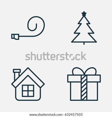 happy new year icons set collection of decorated tree residential celebrate whistle and