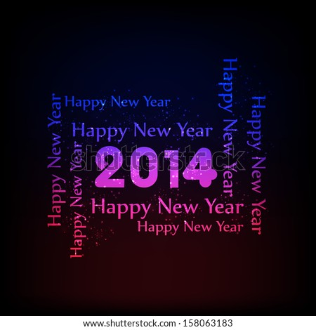 Happy New year 2014 illustration on a shining blue and pink background for New Year