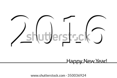Happy New Year 2016 illustration. Simple inscription. Invitation, post cards, congratulation, business. Black and white monochrome. Image. Vector. Icon.