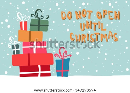 Happy New Year Illustration with a picture of Christmas gifts on a snowy background.