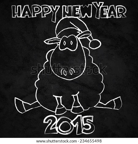 Happy New Year illustration with funny cartoon sheep sitting in Santa hat and 'Happy New Year 2015' lettering on black chalkboard background. - stock vector
