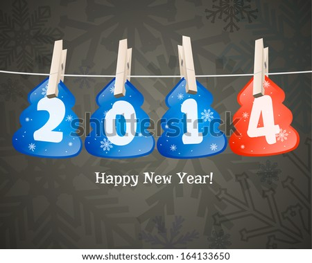 Happy new year 2014 in the form of Christmas trees on clothespins. - stock vector