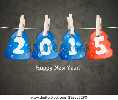 Happy new year 2015 in the form of Christmas trees on clothespins. - stock vector