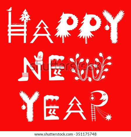 Happy new year inscription. Happy new year collage-Red - stock vector