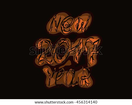 Happy new year 2017 isolated text and numbers on black background vector illustration. EPS10 - stock vector