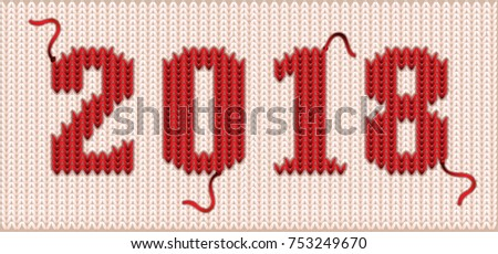 Happy new 2018 year knitted banner, vector illustration