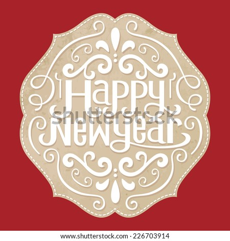 happy new year .Label  - stock vector