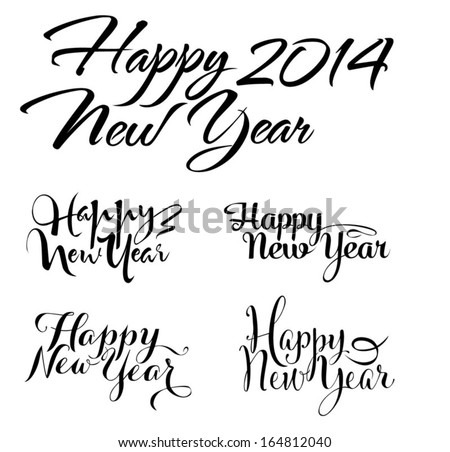 Happy New Year - lettering - stock vector