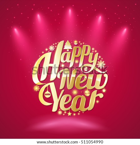 Happy New Year lettering circle. Modern calligraphy for greeting card, poster, photo overlay. Isolated on red background. Vector illustration. Handmade vector
