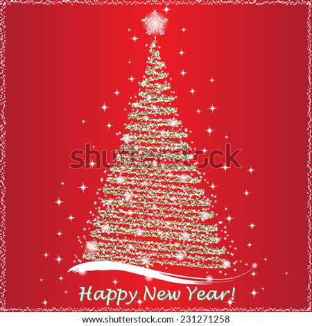 Happy New Year lettering Greeting Card, vector illustration - stock vector