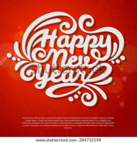 Happy New Year Lettering Greeting Card. Vector Illustration. Red Textured Background with Lights. - stock vector