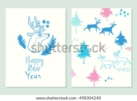 Happy New Year Lettering Greeting Cards Stock Vector 498304240 ...