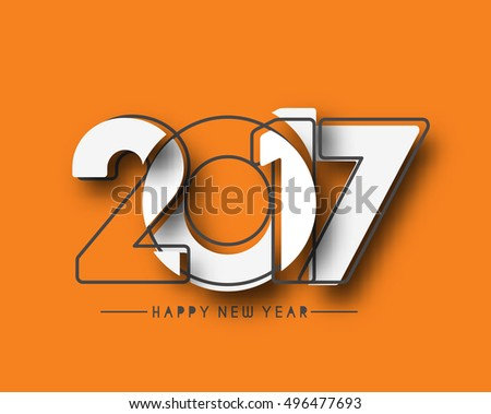 Happy new year 2017 line art text Vector Design Background