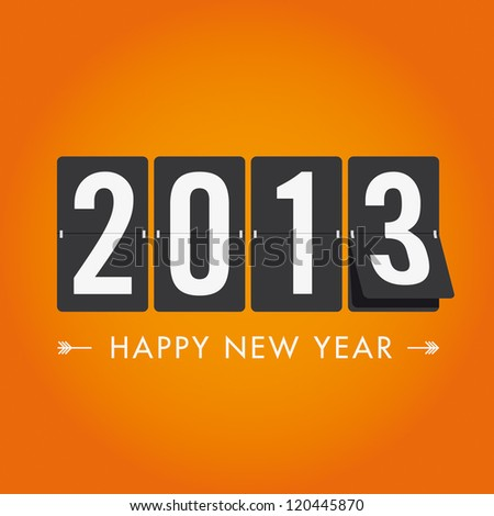 Happy new year 2013, mechanical timetable in movement - stock vector