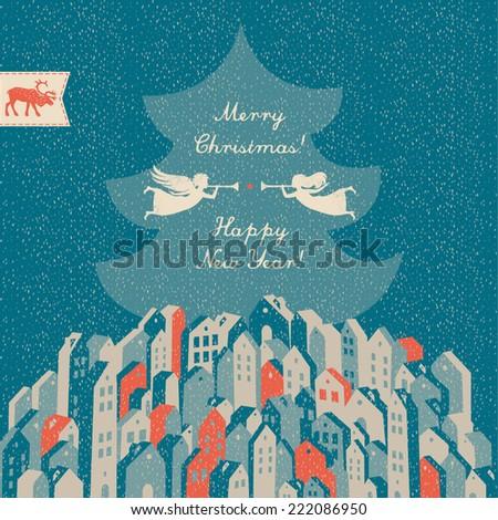 Happy New Year! Merry Christmas! - stock vector