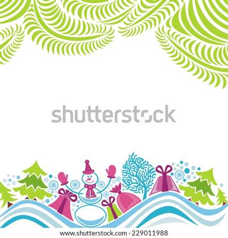 Happy new year merry christmas card vector illustration - stock vector