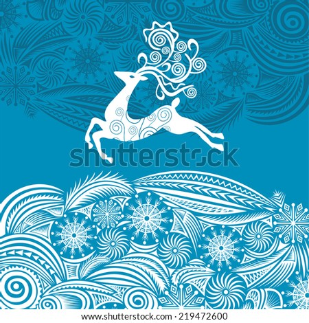 Happy new year merry christmas card with deer vector illustration - stock vector