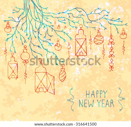 Happy New Year / Merry Christmas doodles design. Hand-drawn stylish slim elements. Vector - stock vector