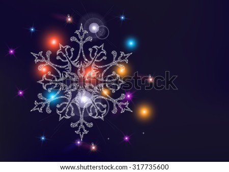 Happy new year merry christmas elegant greeting card or poster design with snowflake star and unfocused light wallpaper background. EPS10 vector file. - stock vector