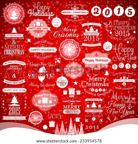 Happy New Year, Merry Christmas, Happy Holiday labels and decoration elements, vector illustration for holiday design. Party poster, greeting card, banner or invitation. - stock vector