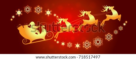 Happy New Year Merry Christmas santa sleigh deers snowflakes background magic holidays