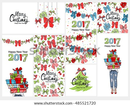 Happy 2017 New Year Merry Christmas Vertical Banner Design Set Hand Lettering