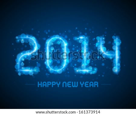 Happy new year - 2014 message and abstract light design vector background greeting card.