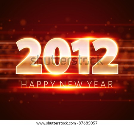 Happy new year 2012 message from light vector background. Eps 10.